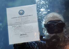 intelligence specialist 2nd class joshua adams holds his re enlistment certificate at the florida aquarium navy intelligence specialist