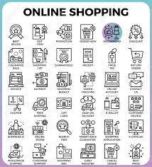 Online Shopping Concept Detailed Line Icons Set In Modern Line Icon