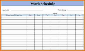 Staff Work Schedule Template Sample Of Work Schedule Template