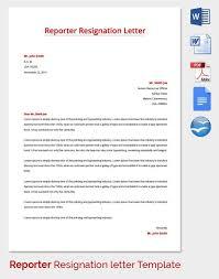 reporter resignation letter template format for resignation letter