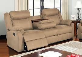 global dual reclining sofa with drop down table in rider khaki