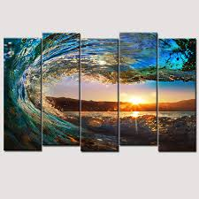 5 piece wall art canvas art huge wave painting modern ocean decor printed painting canvas pictures living room wall art on huge modern wall art canvas with wall art designs 5 piece wall art canvas art huge wave painting