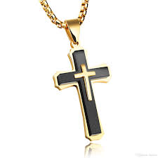 whole mens crucifix cross necklace for men women solid 316l stainless steel pendant necklace high polish silver black gold love necklace diamond heart