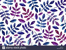 Purple And Blue Background Watercolor Purple And Blue Leaves Pattern Botanical Seamless Stock