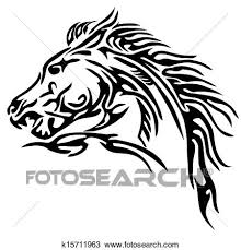 tribal horse head clip art. Fine Art Clipart  Tribal Horse Tattoo Fotosearch Search Clip Art Illustration  Murals Drawings Intended Tribal Horse Head Art