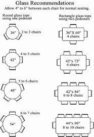 Table Base Size Chart Glass Sizes For Chairs Around A Table Recommended Number Of