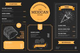 Mexican Restaurant Menu Template With Hand Drawn Food Vector