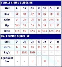 Fastskin Sizing Chart