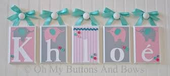 name letters nursery wall decor wall letters baby name blocks hanging wood name blocks elephants tiffany blue pink gray