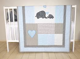 elephant baby quilt blue gray crib bedding chevron elephant blanket grey safari nursery