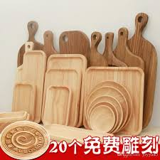 wooden serving trays for party hotel home dinner plate dish tableware rubber wooden tray for snacks fruit milk round suqare wood tray dishes wood tableware