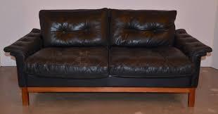 midcentury black tufted leather loveseat danish at stdibs