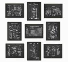 Science Patent Prints Set of 9 Chemistry Wall Art Periodic