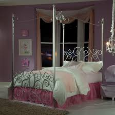 Silver Painted Bedroom Furniture Black Iron Bed Frame With Canopy Combinatin With Black Stained