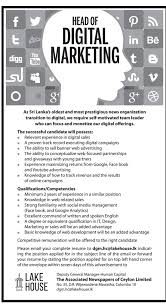 Digital Marketing Job Description Awesome Head Of Digital Marketing The Associated Newspapers Of Ceylon Limited