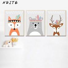 <b>Woodland Animal Cartoon Canvas</b> Poster Nursery Wall Art Print ...