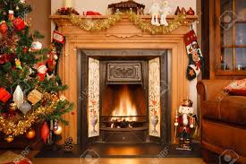Living Room Christmas Christmas Fire Place In A Living Room Stock Photo Picture And