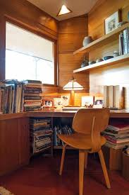 cleveland frank lloyd wright home office modern with open shelves natural finish mantel clocks dobkins house