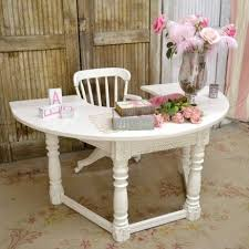 shabby chic office desk. Large Half Circle Office Desk In White $875.00 #thebellacottage #shabbychic #OOAK Shabby Chic U