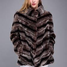 1706026 brown rex rabbit fur chinchilla fur coat 34