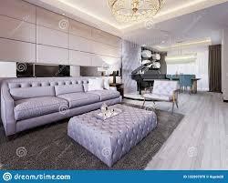 Luxueuze Woonkamer In Moderne Stijl Met Een Gewatteerde Bank Een