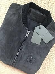 details about all saints steel blue ink logan leather er jacket coat xs m new tags