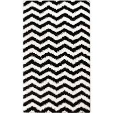 Nuloom Shaggy Chevron Black White Outdoor Area Rug