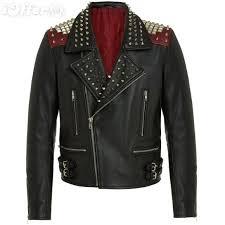 men handmade silver studded biker black leather jacket