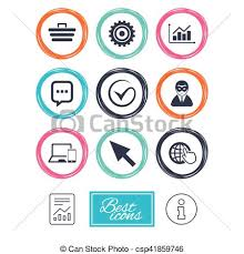 Internet Seo Icons Tick Shopping Signs