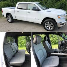 details about 2019 dodge ram crew cab big horn star katzkin black gray leather seat covers