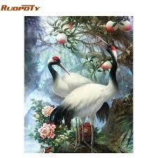 RUOPOTY Frame Crowned <b>Crane</b> DIY <b>Painting By Numbers</b> Kit ...
