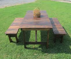 on 5 rustic kitchen table 2 bench set reclaimed wood table kitchen table patio table picnic table restaurant table