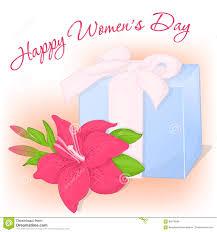happy international women`s day greeting card present and happy international women`s day greeting card present and lily holiday background
