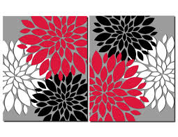 zoom on wall art black white and red with red gray black white wall art prints or canvas bathroom decor