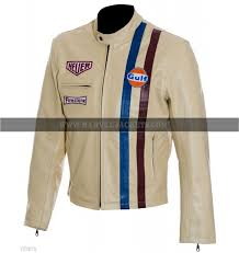 mens steve mcqueen le mans white gulf racing style stripes cream leather jacket
