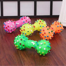 1pcs small dog toys for puppy rubber squeaky dumbbell