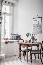 bench by the window small table separate could bring table up to bench dining areadining