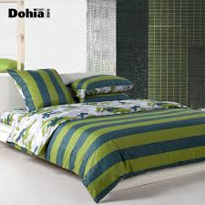 classic bedroom with blue green stripe comforter piece set white bed frame queen white
