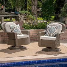 Birch lane modern outdoor wicker swivel club patio chair with cushions reviews wayfair