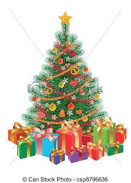 christmas tree with presents and lights clip art. Decorated Christmas Tree Wirh Presents Isolated Throughout With And Lights Clip Art