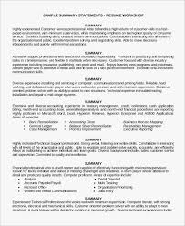 customer service summary for resumes service oriented inspirational resume summary statement examples