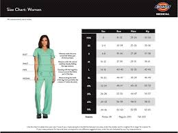 Dickies Size Chart Women S Dickies Size Chart Groupscrubs Com