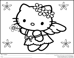 For Kid Free Hello Kitty Coloring Pages 54 With Additional Line