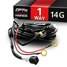 amazon com opt7 14 gauge 380w wiring harness w switch for off opt7 14 gauge 380w wiring harness w switch for off road led light bar 11ft dimmer strobe 80ft range plug and play waterproof relay