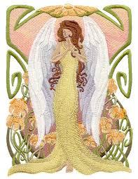 ART NOUVEAU ANGEL Square Machine Embroidery Quilt Block & Description.