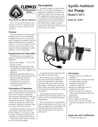 Clemco Industries Blast Cabinets Apollo Ambient Air Pump Model Cap 1 Clemco Industries Pdf