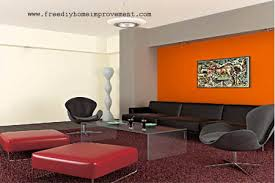 Home Interior Wall Paint Color Scheme with Orange Color