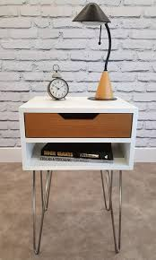 mid century modern end table white nightstand bed side table hairpin
