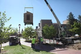 tiny house denver. A Pro Lift Crew Hoists Framed-out Tiny Home At The University Of Denver House