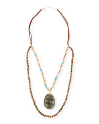 panacealong wooden bead necklace w jasper pendant